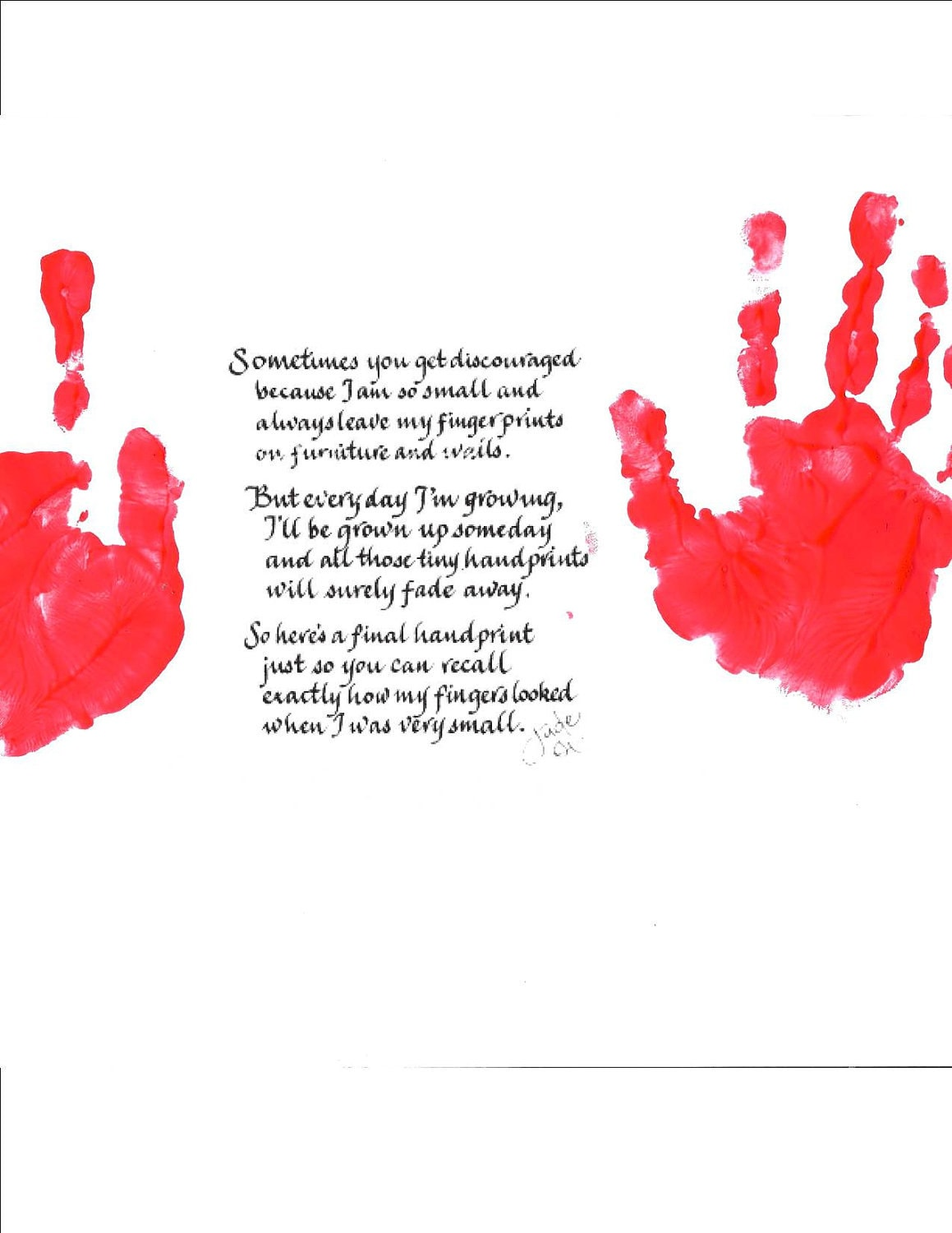 YOUR Child's Handprint on Handprint Poem by CalligraphicArtisan