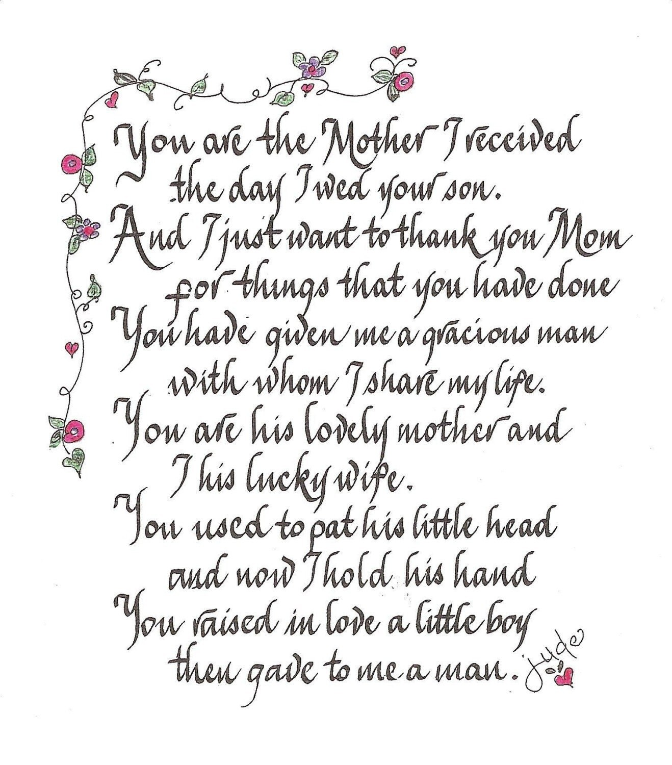 Handscribed calligraphy loving poem for by calligraphicartisan