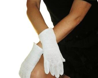 White Crocheted Fishnet Gloves, No.1