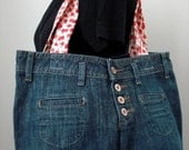 Upcycled Pants Purse - Denim with Red Floral Straps