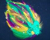 Fun Mardi Gras Feather Hair Clip or Headband