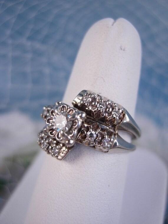 Antique 1930's Diamond Wedding Ring Set FREE SHIPPING