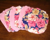 Sprite Wipes 6 Pack in Roses on Blue (Upcycled)
