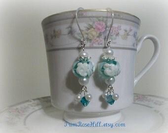 Aqua Cameo Lampwork Roses...Designer Series