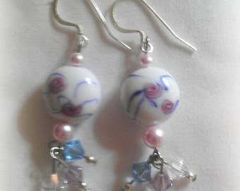 Afternoon Tea Pink Roses Earrings