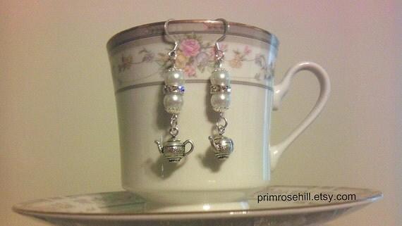 Pearl and Rhinestone Crystal Teapot Earrings
