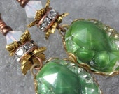 Barefoot- Art Nouveau- Vintage Glass Cabs in Brass- Earrings- Cynensemble