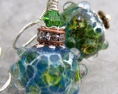 Fern Gully Frit- Artisan Lampwork And Sterling Earrings- Cynensemble