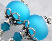 Ocean Glow- Etched Lampwork and Sterling Earrings- Cynensemble
