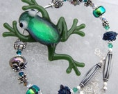 Fantasy Frog- Artisan Dichroic Lampwork Frog And Sterling Necklace- Cynensemble