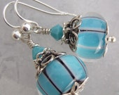Everyday Blues- Artisan Lampwork And Sterling Earrings- Cynensemble