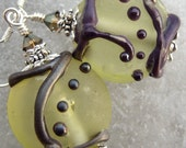 Sunny Dreams- Summer Etched Artisan Lampwork And Sterling Earrings- Cynensemble