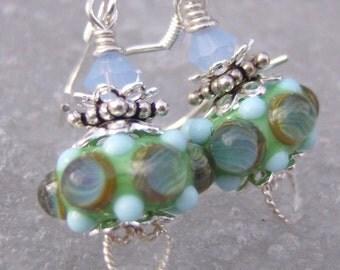 Spring Equinox- Petites Series- Artisan Lampwork And Sterling Earrings- Cynensemble