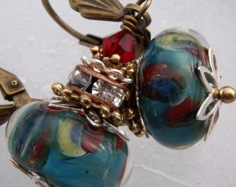 Charmed- Artisan Boro Lampwork And Brass Earrings- Cynensemble
