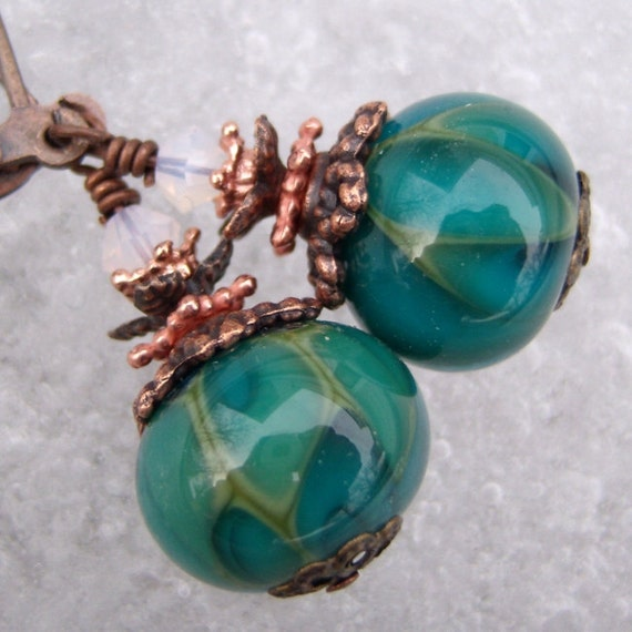 Opal n' Marble- Artisan Lampwork And Antique Copper Earrings- Cynensemble