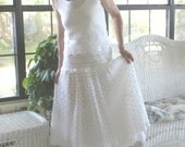 White Crocheted Lacy Romantic Women's Spring or Wedding Dress