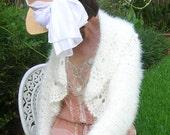 Crochet Women's Sweater, Mohair Sweater, Winter White Ladies Sweater, Long Sleeved Sweater, Women's Shrug, Crocheted Ladies Shrug, Sweater