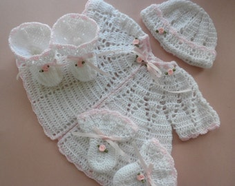 Crocheted baby sweater, crocheted baby clothes, baby sweater set, baby girl sweater, newborn to 3 month old sweater, baby booties, baby hat