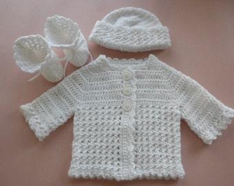Crochet Baby Sweater, Baby Boy Sweater, Baby Girl Sweater, Baby Boy Christening Set, Baby Booties, Baby Boy Hat, Baby Clothes, Crochet Baby
