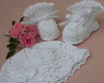 Crochet Baby Booties, Crochet Baby Hat, Lacy Baby Hat, Newborn Baby Booties, Christening Booties, Christening Hat, Lacy Baby Booties