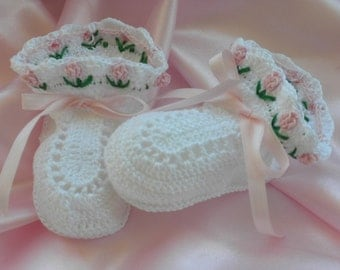 Crocheted Baby Booties, Christening Booties, Blessing Booties, Newborn to Six Month Old Baby Girl Booties, Photo Prop Booties, Baby Crochet