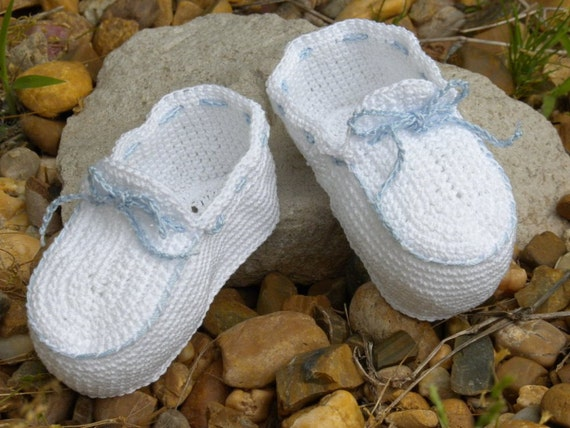 White and Blue Crocheted Baby Bootie Moccasins for Newborn to Three Month Old Baby Boy Christening/Blessing/Baptism/Photo or Picture Prop