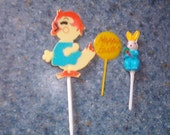 Vintage Easter Cake Cupcake Toppers Decorations and a bag full of plastic multi colored picks