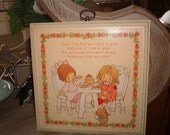 Vintage Springbok Hallmark Wall Plaque Wood and Litho Little Girls eating together