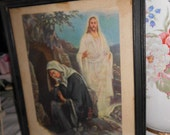 "Vintage 8"" x 9 3/4"" Picture of Jesus standing by Mary at His Tomb Entitled He is Risen"
