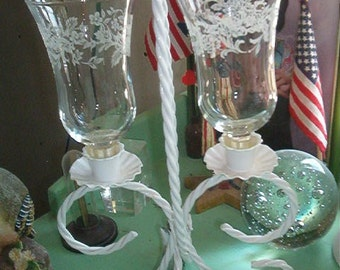 Vintage Shabby Chic White Iron Double CANDLE HOLDER Clear Glass Holders with white roses