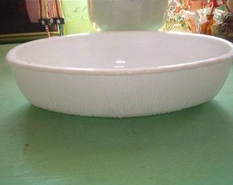 1975 White Glass Oblong Bowl or Planter Milk Glass White Shabby Chic