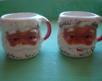 Set of 2 Vintage Porcelain Christmas Dark Face Santa Mugs  TX 747