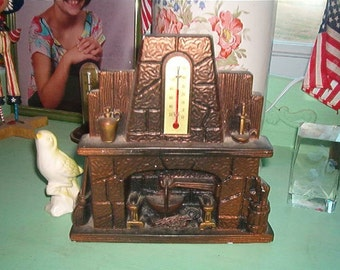1973 Miller Studio Chalkware Figural Fireplace Piece with Themometer