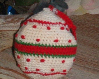 Vintage Crocheted Round Ball Christmas Ornament White Red Green with Dots Stripes