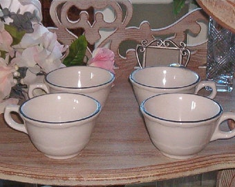 Set of 4 Vintage French Country Shabby Chic Black and White Pottery Cups Syracuse China