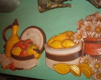 Retro 1981 Set of 2 Kitchen Hard Plastic Wall Plaques Orange Yellow Brown White