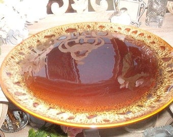 """13 1/8"""" Extra Large Round Pottery Serving Plate Platter Brown Green"""