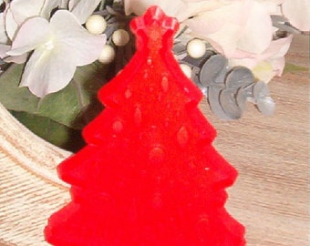Vintage Hallmark Red Hard Plastic Christmas Tree Cookie Cutter with Handle