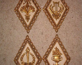 1971 Set of 4 Shabby Chic Homco Diamond Shaped Wall Hangings Gold and Cream Color