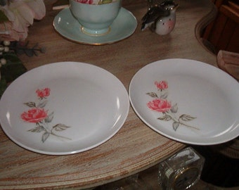 Set of 2 Vintage Melmac Sun Valley Shabby Chic Plates White with Pink Roses