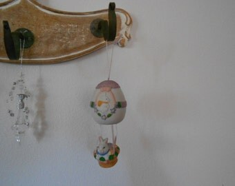 Vintage Hanging Ceramic painted Easter Decoration Hot Air Balloon with bunny rabbit in basket