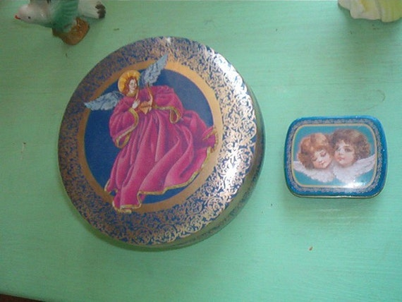 Lot of 2 Vintage Tin Cans with ANGELS on them