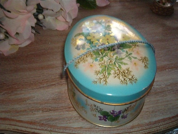 Vintage Metal Egg Shape Tin Can with blue rope handle Oh So Shabby Chic Easter