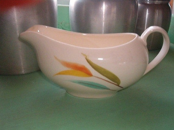 Vintage Pottery Gravy Boat Made in USA