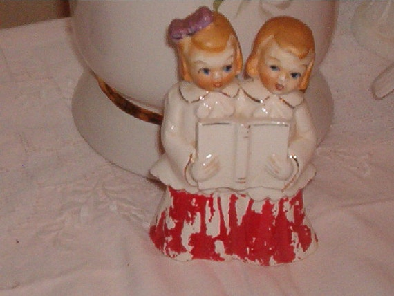 Vintage Porcelain 2 Little Choir Girls Singing holding a book Christmas Figurine  Marked Japan