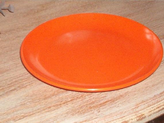 Vintage Retro Orange 5 3/4 inch plate Hard Plastic Melmac Halloween Treats