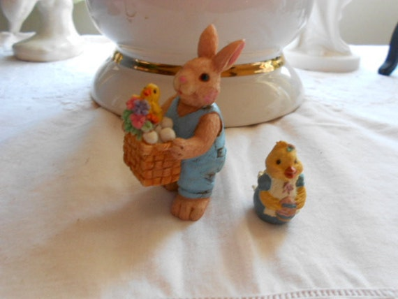 Vintage 2 Easter Miniture Figurines Bunny Rabbit & Baby Chicks
