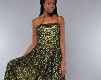 Vintage Strapless Dress // Black Lace Party Dress // Citron Satin // Full Skirt // M