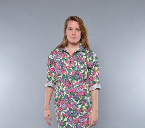 Vintage 80's Floral Denim Dress / Crazy Pockets / M /