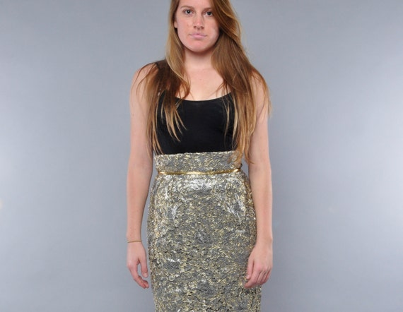 Vintage High Waist Skirt // Metallic Lace Pencil Skirt // Peggy Jennings // M